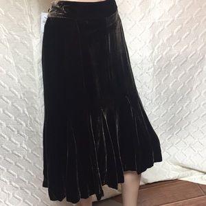 Ann Taylor Brown Velvet Skirt L